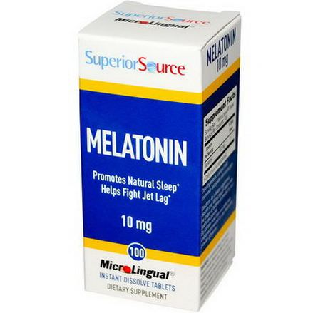 Superior Source, Melatonin, 10mg, 100 MicroLingual Instant Dissolve Tablets