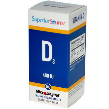 Superior Source, MicroLingual, Vitamin D3, 400 IU, 100 Tablets