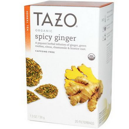 Tazo Teas, Organic, Herbal Tea, Spicy Ginger, Caffeine-Free, 20 Filterbags 38g