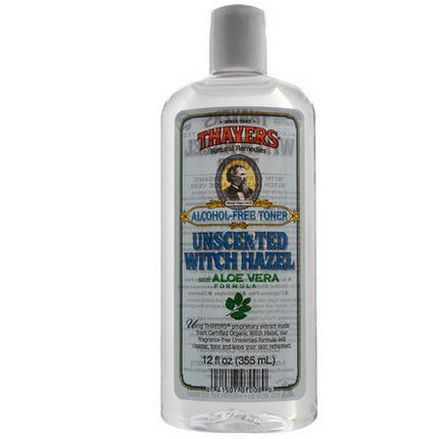 Thayers, Alcohol Free Toner, Unscented Witch Hazel with Aloe Vera Formula 355ml