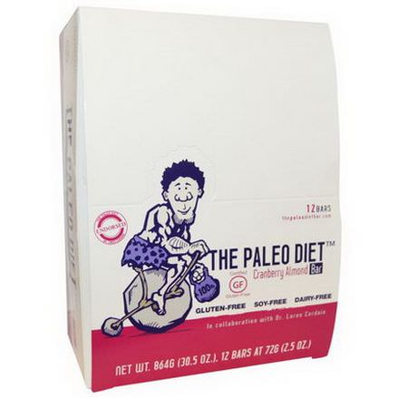 The Paleo Diet Bar, Cranberry Almond Bar, 12 Bars 72g Each