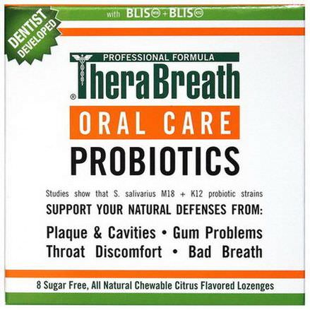 TheraBreath, Oral Care Probiotics, Citrus Flavor, 8 Sugar Free Lozenges