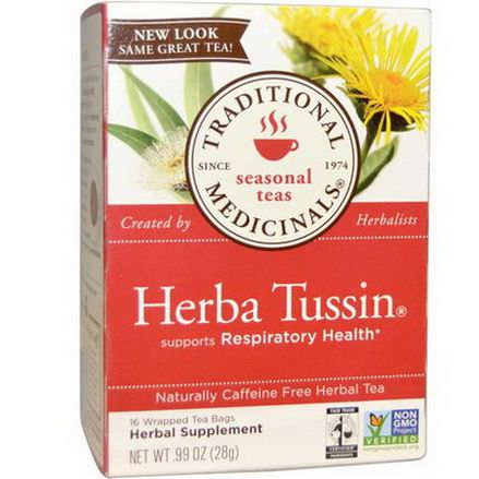 Traditional Medicinals, Herbal Tea, Herba Tussin, Caffeine Free, 16 Wrapped Tea Bags 28g