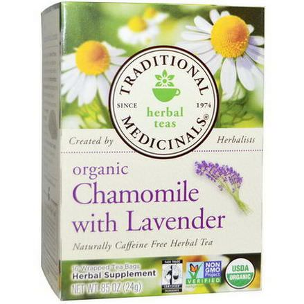 Traditional Medicinals, Herbal Tea, Organic Chamomile with Lavender, Caffeine Free, 16 Wrapped Tea Bags 24g