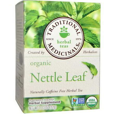 Traditional Medicinals, Organic Nettle Leaf Herbal Tea, Caffeine Free, 16 Wrapped Tea Bags 32g