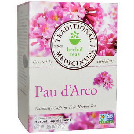 Traditional Medicinals, Pau d'Arco, Naturally Caffeine Free Herbal Tea, 16 Wrapped Tea Bags 24g