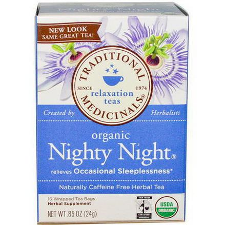 Traditional Medicinals, Relaxation Teas, Organic Nighty Night, Caffeine Free, 16 Wrapped Tea Bags 24g