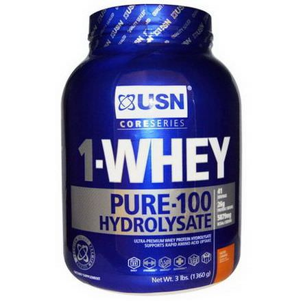 USN, 1-Whey Pure-100 Hydrolysate, Salted Caramel 1360g