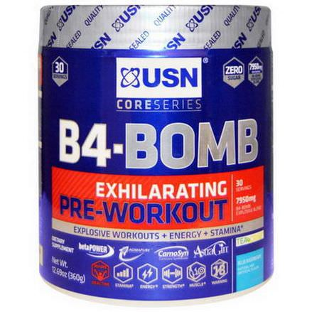 USN, B4-Bomb, Pre-Workout, Blue Raspberry 360g
