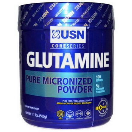 USN, Glutamine, Pure Micronized Powder, Unflavored 500g