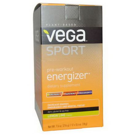 Vega, Sport, Pre-Workout Energizer, Lemon Lime, 12 Packs 18g Each