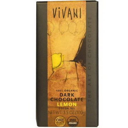 Vivani, 100% Organic Dark Chocolate, Lemon 100g