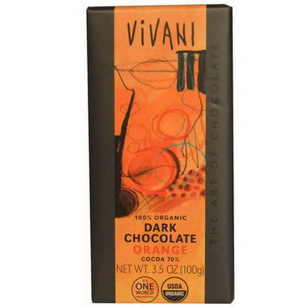 Vivani, 100% Organic Dark Chocolate, Orange 100g