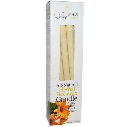 Wally's Natural Products, All-Natural Herbal Beeswax Candle, 12 Candles