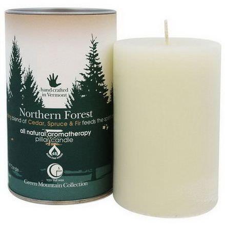 Way Out Wax, Green Mountain Collection, Pillar Candle, Northern Forest, One 2.75