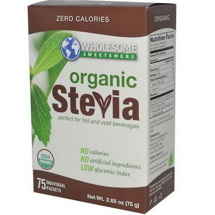 Wholesome Sweeteners, Inc. Organic Stevia, All-Natural Sweetener, 75 Individual Packets, 1g Each