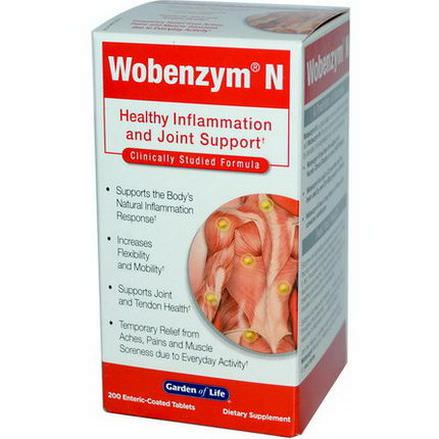 Wobenzym, Wobenzym N, Healthy Inflammation and Joint Support, 200 Enteric-Coated Tablets