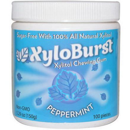 Xyloburst, Xylitol Chewing Gum, Peppermint 150g, 100 Pieces