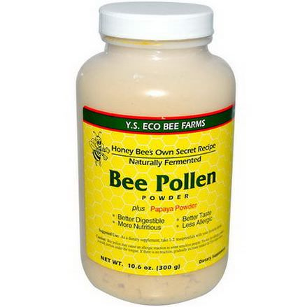 Y.S. Eco Bee Farms, Bee Pollen Powder, Plus Papaya Powder 300g