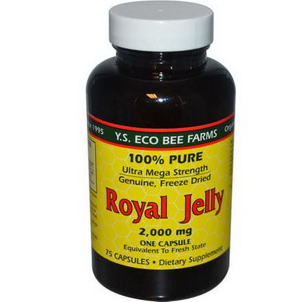 Y.S. Eco Bee Farms, Royal Jelly, 100% Pure, 2,000mg, 75 Capsules