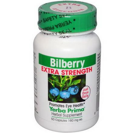 Yerba Prima, Bilberry Extra Strength, 160mg, 50 Capsules