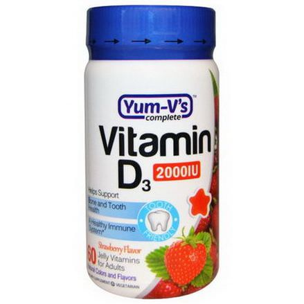 Yum-V's, Vitamin D3 for Adults, Strawberry Flavor, 2000 IU, 60 Jelly Vitamins