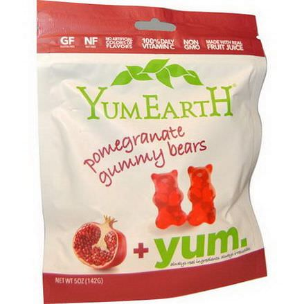 YumEarth, Gummy Bears, Pomegranate 142g