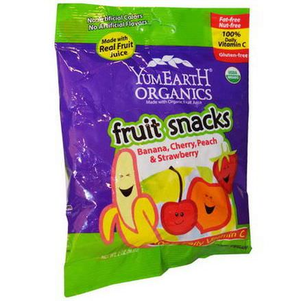 Yummy Earth, Fruit Snacks, Banana, Cherry, Peach&Strawberry, 12 Packs 56.7g Each