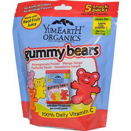 Yummy Earth, Gummy Bears, 4 Flavors, 5 Snack Packs 20g Each