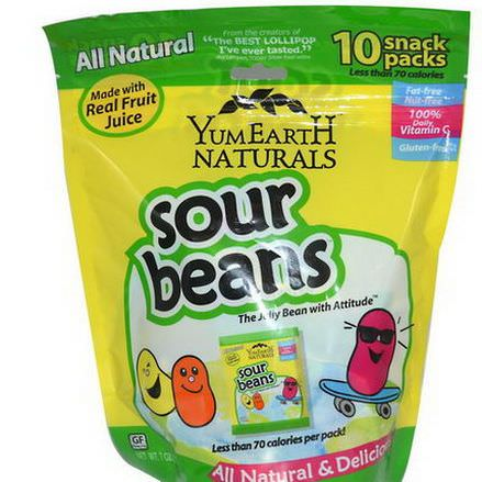 Yummy Earth, Naturals, Sour Jelly Beans, 10 Snack Packs, 20g Each