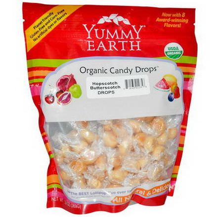 Yummy Earth, Organic Candy Drops, Family Size Bag, Hopscotch Butterscotch 369g