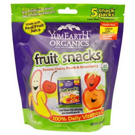 Yummy Earth, Organic Fruit Snacks, Banana, Cherry, Peach&Strawberry, 5 Packs 19.8g Each