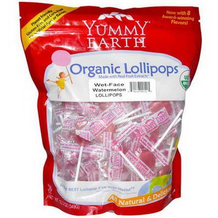Yummy Earth, Organic Lollipops, Family Size Bag, Wet-Face Watermelon, 50+ Pops 349g