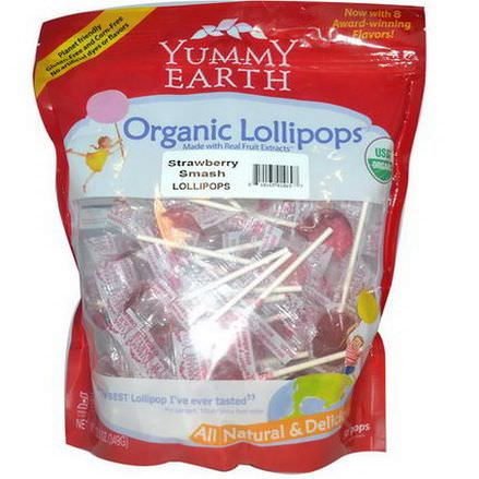 Yummy Earth, Organic Lollipops, Strawberry Smash 349g