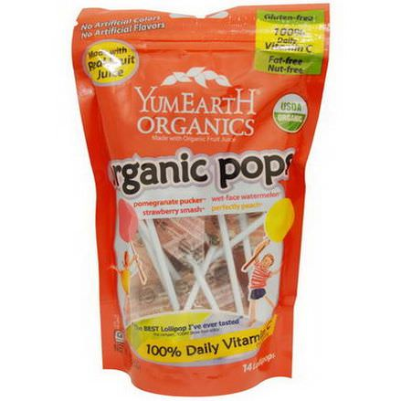 YumEarth, Organic Pops, 14 Lollipops 85g