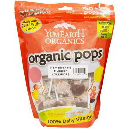 Yummy Earth, Organic Pops, Pomegranate Pucker Lollipops, 50+ Pops approx 349g