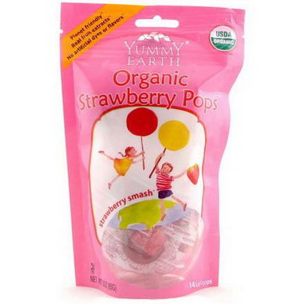 Yummy Earth, Organic Strawberry Pops, 14 Lollipops