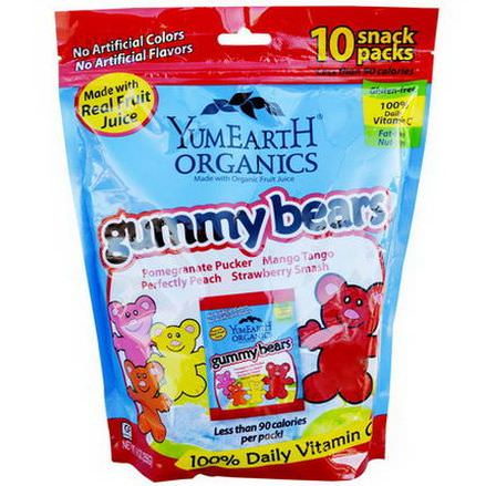 YumEarth, Organics, Gummy Bears, 10 Snack Packs, 25g Each