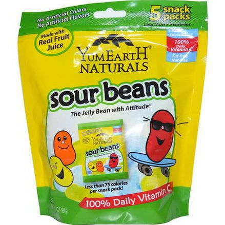 Yummy Earth, Sour Beans, 5 Snack Packs 99g