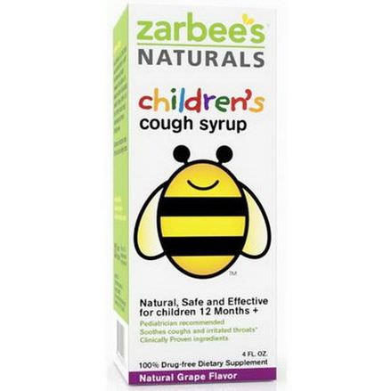 Zarbee's, Children's Cough Syrup, Natural Grape Flavor, 4 fl oz
