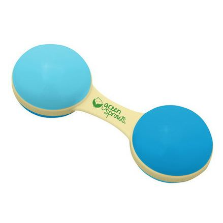 iPlay Inc. Green Sprouts, Cornstarch Dumbbell Rattle, 3 Months, Aqua Color
