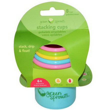 iPlay Inc. Green Sprouts, Stacking Cups, 6+ Months, 8 Cups