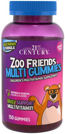 Zoo Friends Multi Gummies, Childrens Multivitamin Supplement, 150 Gummies by 21st Century-Vitaminer, Barn Multivitaminer