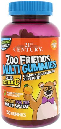 Zoo Friends Multi Gummies, Plus Extra C, 150 Gummies by 21st Century-Vitaminer, Multivitaminer, Barn Multivitaminer, Multivitamingummier
