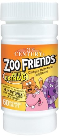 Zoo Friends with Extra C, 60 Chewable Tablets by 21st Century-Vitaminer, Multivitaminer, Barn Multivitaminer