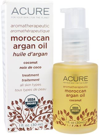 Aromatherapeutic Moroccan Argan Oil, Coconut, 1 fl oz (30 ml) by Acure Organics-Bad, Skönhet, Arganolja