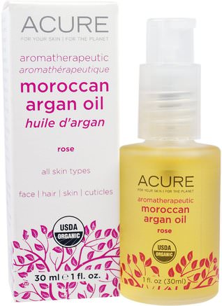 Aromatherapeutic Moroccan Argan Oil, Rose, 1 fl oz (30 ml) by Acure Organics-Bad, Skönhet, Arganolja