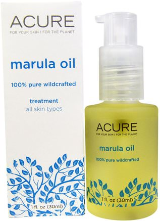 Marula Oil Treatment, All Skin Types, 1 fl oz (30 ml) by Acure Organics-Skönhet, Ansiktsvård, Hudtyp Hyperpigmentering Solskyddad Hud