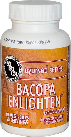 Ayurved Series, Bacopa Enlighten, 60 Veggie Caps by Advanced Orthomolecular Research AOR-Örter, Bacopa (Brahmi)