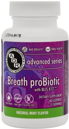 Breath ProBiotic, 60 Lozenges by Advanced Orthomolecular Research AOR-Bad, Skönhet, Oral Tandvård, Munhygienprodukter, Tillskott